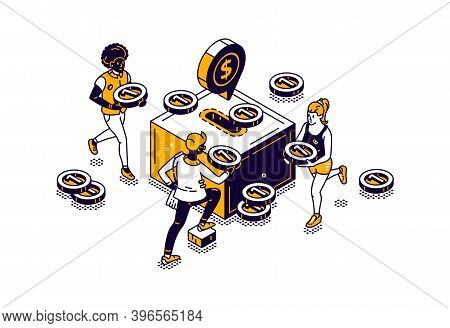 People With Money And Moneybox Icon With Gold Coin Isometric Vector Illustration