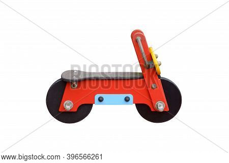 Childrens Toy Wooden Bike Isolated On White Background