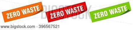 Zero Waste Sticker. Zero Waste Square Isolated Sign. Zero Waste Label