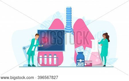 Multiracial Male And Female Tuberculosis Specialists. Human Pulmonary System. Abstract Concept Of He