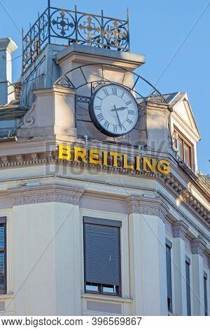 Oslo, Norway - October 29, 2016: Big Breitling Clock At Building Corner In Oslo, Norway.