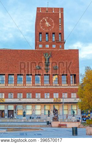 Oslo, Norway - October 30, 2016: Capital City Hall Municipal Building Radhuset In Oslo, Norway.