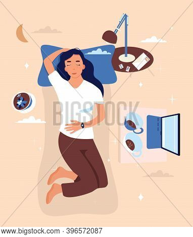 Girl Is Lying On The Back With Sleeping Tracker On Her Hand.bedroom Interior With Furniture,laptop.w