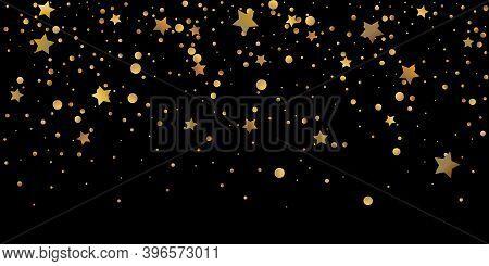 Star Of Confetti. Falling Starry Background. Random Stars Shine On A Black Background. The Dark Sky