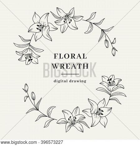 Oval Floral Wreath, Lily Flower Wreath. Elegant Frame For Invitation Or Wedding Decor, Lily Flowers