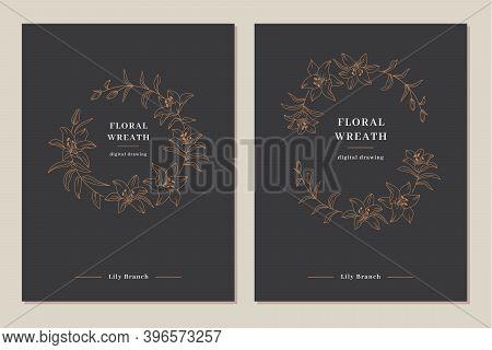 Invitation Templates, Wedding Cards. Lily Flower Wreath, Floral Wreath, Flowers Circle Monogram. Ele