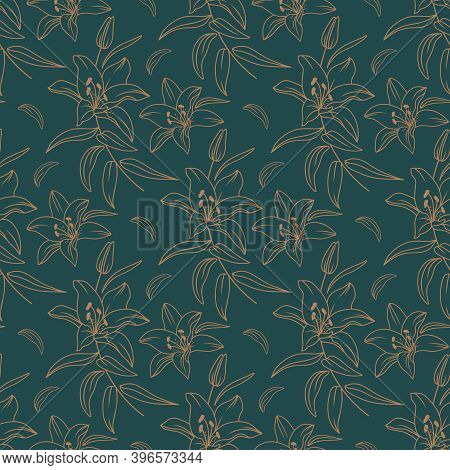 Lily Pattern, Modern Floral Pattern, Elegant Golden Lilies On A Dark Green Background, Drawn In A Th