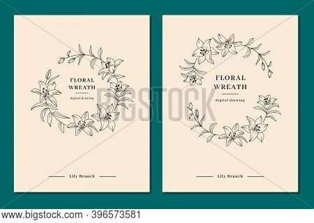 Floral Wreath Set, Wedding Invitation Templates, Lily Flower Wreath. Elegant Minimalist Templates Fo