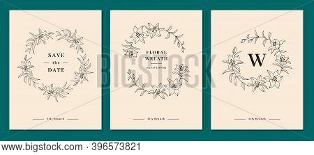 Invitation Card Designs, Lily Flower Wreath, Floral Wreath. Lily Flowers Circle Monogram, Wedding Fr