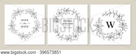 Save The Date Cards, Invitation Cards, Wedding Invitation Template. Lily Flower Wreath, Floral Wreat