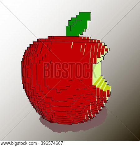 Apple Bitten Delicious Juicy Fruit Drawn Voxel Art Cube