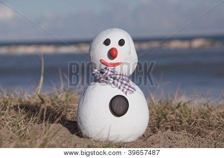 snow man on stones with coastal background