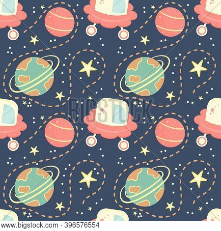 Childrens Seamless Pattern With Planets, Aircraft And Stars. Space Pattern For Children. Planets Wit