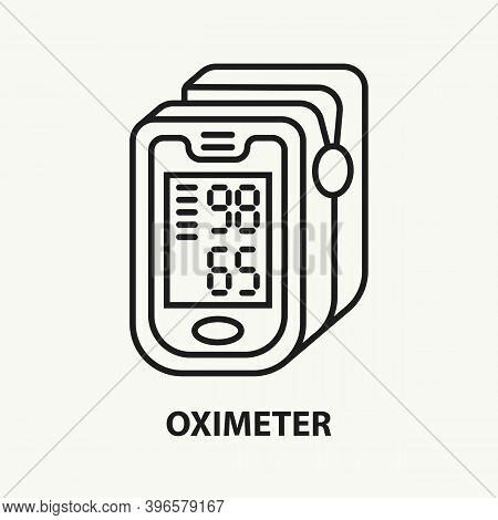 Pulse Oximeter Line Icon. Monitor For Measuring Pulse And Oxygen Saturation In Blood. Pneumonia Diag