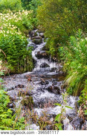 Running Water Of A Small Stream Or Waterfall, Vang, Norway.