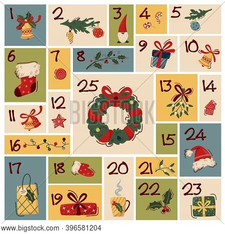 Christmas Advent Calendar Template With Hand Drawn Elements - Wreath, Gifts, Fir Branches, Socks, Ho
