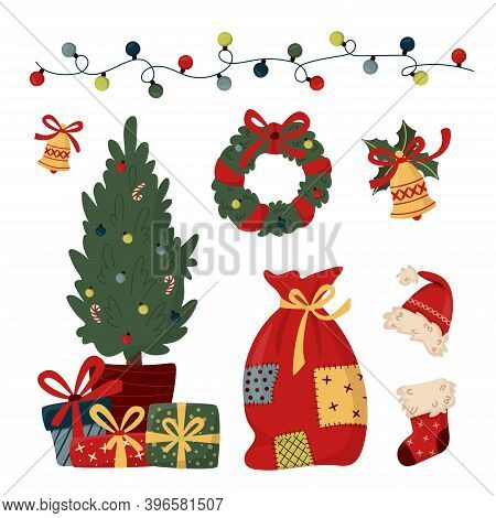 Set Of Christmas Elements In Trendy Flat Style. Christmas Wreath, Decorated Fir With Gift Boxes, Gif