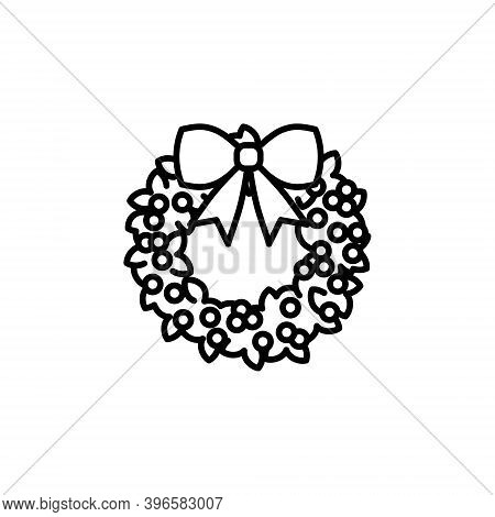 Cute Holly Wreath Vector Icon In Trendy Minimalist Line Art. Christmas Holly Wreath With Bow Knot Is