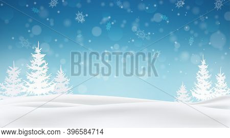 Snow Flakes Falling, Christmas Snowflakes Backdrop. Winter Xmas Snow Background. Snowy Woodland Land