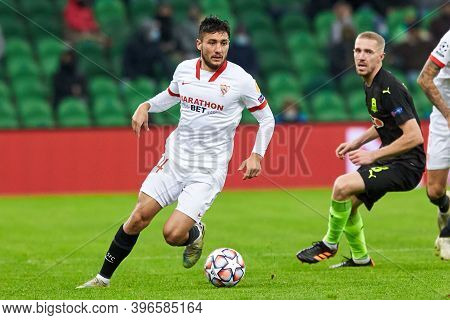Krasnodar, Russia - November 24, 2020: Oscar Rodriguez Of Sevilla Fc In Action During The Uefa Champ