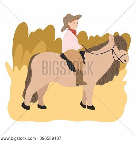 Happy Small Boy In Hat Sitting On Brown Pony Back And Riding