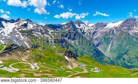 Mountain Asphalt Road Serpentine. Winding Grossglockner High Alpine Road In High Tauern, Austria.