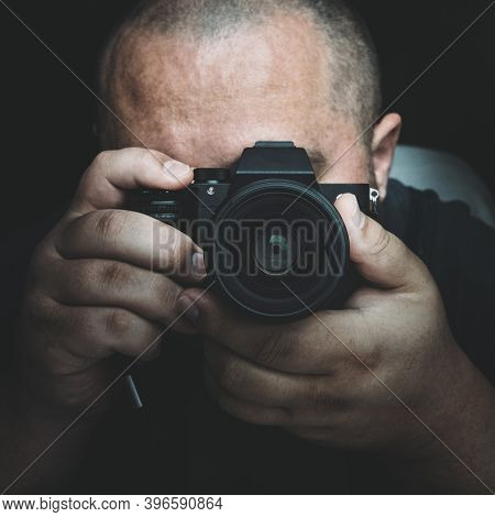 Portrait Of Man With Camera, Photographer Or Paparazzi Or Private Investigator.