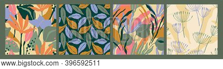 Abstract Collection Of Seamless Patterns With Leaves And Geometric Shapes. Modern Design .