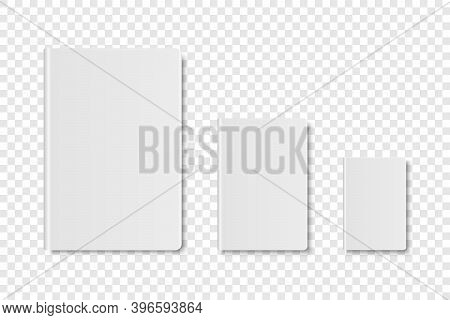 Vector 3d Realistic White Closed Blank Paper Notebook, Diary, Book Set Isolated On Transparent Backg