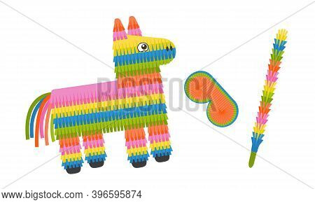 Pinata Donkey With Eye Mask And Stick Isolated On White Background. Colorful Pinata Toy With Sweets
