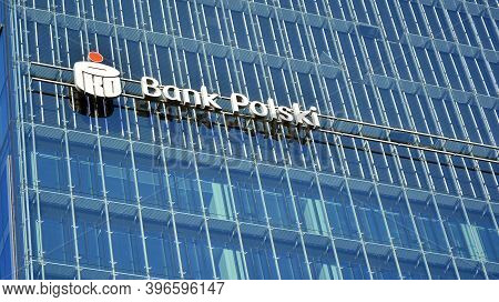 Warsaw, Poland. 25 November 2020. Sign Pko Bank Polski. Company Signboard Pko Bank Polski.