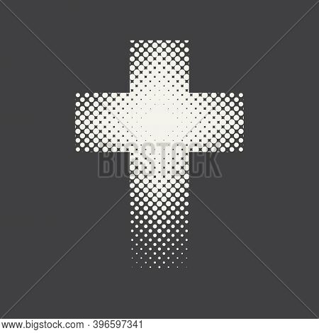 Dotted Religious Cross Isolated On A Black Background. Vector Halftone Pattern Of Religious Cross Ic