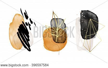 Watercolor Shapes Neutral Illustration With Gold, Isolated On White Background. Abstract Modern Prin