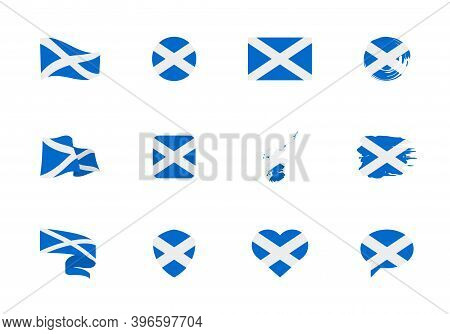Scotland Flag - Flat Collection. Flags Of Different Shaped Twelve Flat Icons.