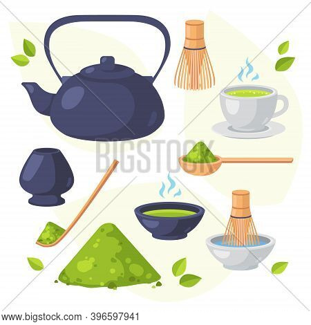 Japanese Ethnic And National Tea Ceremony. Collection Of Matcha Tea Products. Matcha Powder, Teapot,