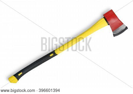 Large Red Axe With Long Yellow Grip From Firemans Toolbox Isolated On White Background. Top View