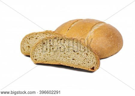 Fresh Bakery Product. Bread. White Round Wheat Bread Isolated On White Background. Top View And Copy