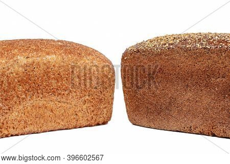 Bakery Product. Bread. Rye And Brown Bread On A White Background. Isolate. Space For Text.