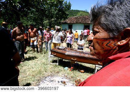 Itaju Do Colonia, Bahia, Brazil - February 24, 2012: Indians Of The Pataxo-ha-ha-hae Ethnicity Colle
