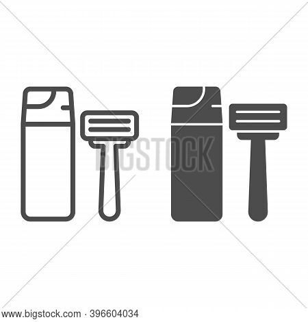 Shaving Foam And Razor Line And Solid Icon, Hygiene Routine Concept, Men Skincare Products Sign On W