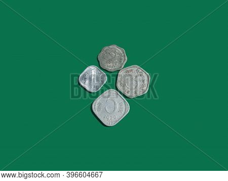 Indian Vintage Coins. Old Coins One  Two  Three  Five, Ten And Twenty Paisa. Paisa Is Indian  Curren