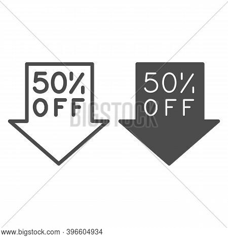 Down Arrow With Fifty Percent Discount Line And Solid Icon, Black Friday Concept, Advertising Fifty