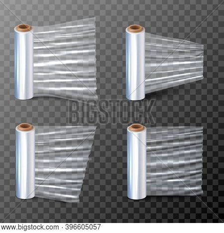 3d Realistic Vector Illustration Of A Cling Paper For Packaging In Four Different View. Isolated On