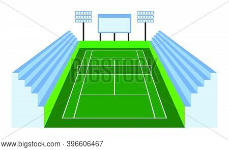 Green Tennis Court In Isometric View With Spectator Stands. Outdoor Tennis Court. Sports Ground For