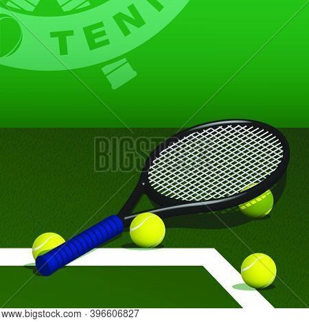 Tennis Racquet And Balls Lie On Lawn Of Grass Tennis Court. Sport Equipment And Inventory. Realistic