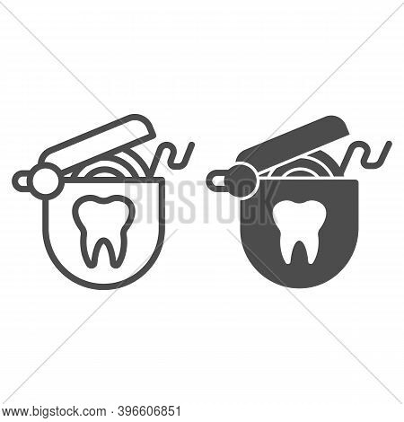 Roll Of Dental Floss Line And Solid Icon, Hygiene Routine Concept, Floss To Clean Teeth Sign On Whit