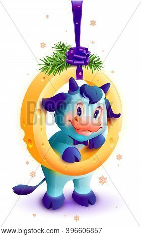 White Bull Symbol Of 2021 New Year. Goby And Christmas Garland Of Cheese With Spruce Branches. Isola