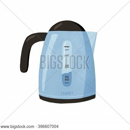 Modern Electric Tea Kettle Or Teakettle With Hot Boiling Water Inside Isolated On White Background.