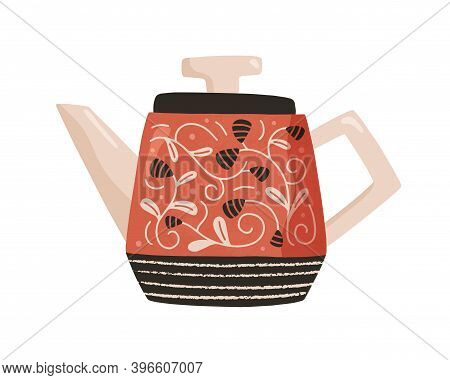 Ceramic Kettle For Tea. Retro Style Teapot. Colored Cute Pottery Isolated On White Background. Kitch