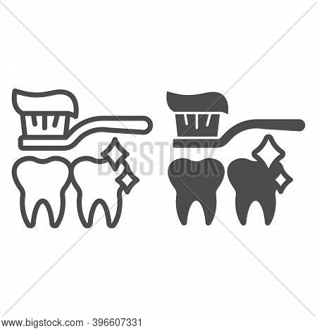 Toothbrush With Paste And Clean Teeth Line And Solid Icon, Makeup Routine Concept, Tooth Care Sign O